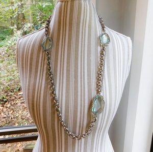 Loft large aquamarine glass statement necklace